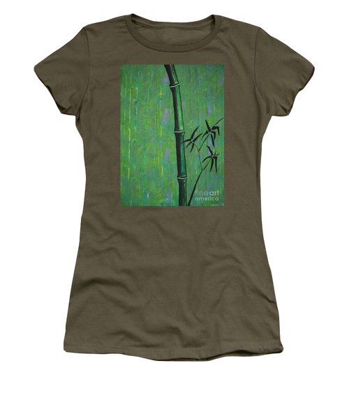 Women's T-Shirt (Junior Cut) featuring the painting Bamboo by Jacqueline Athmann