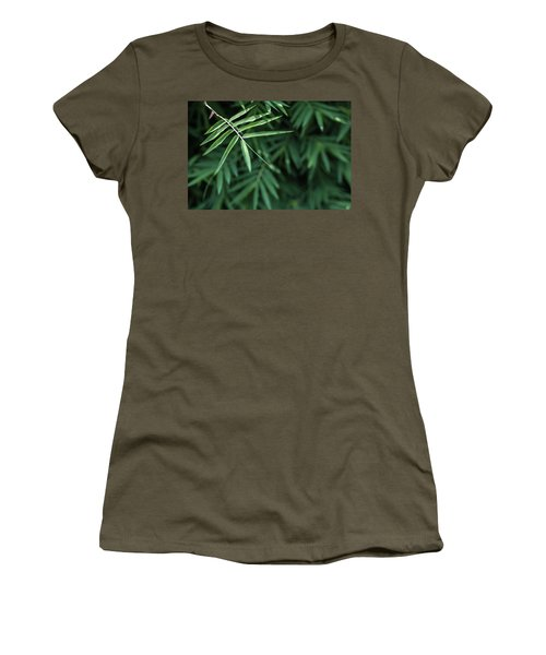 Bamboo Leaves Background Women's T-Shirt (Junior Cut) by Jingjits Photography