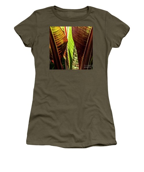 Women's T-Shirt (Athletic Fit) featuring the photograph Banana Leaf Jungle by Brad Allen Fine Art