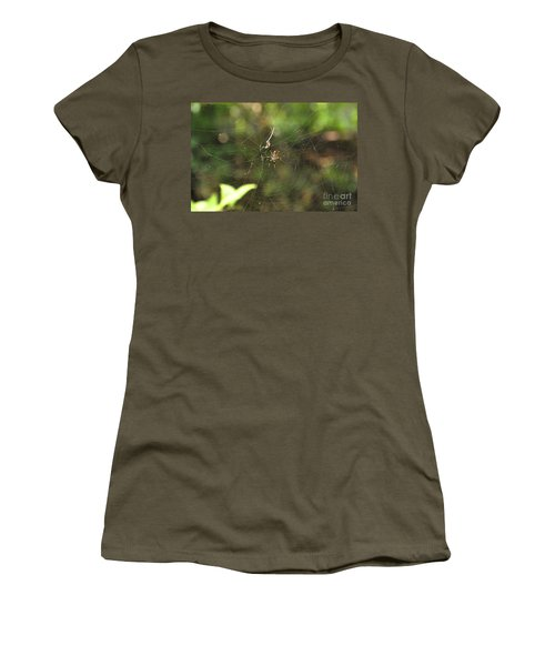 Women's T-Shirt (Junior Cut) featuring the photograph Banana Spider In Web by John Black