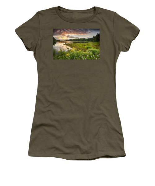 Bar Harbor Maine Sunset One Women's T-Shirt (Junior Cut) by Kevin Blackburn