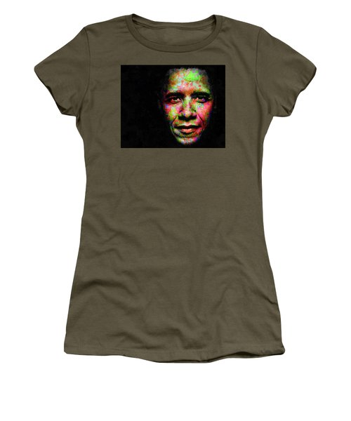Women's T-Shirt (Junior Cut) featuring the mixed media Barack Obama by Svelby Art