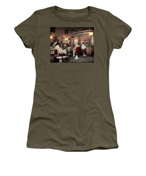 Women's T-Shirt (Junior Cut) featuring the photograph Barber - Senators-only Barbershop 1937 by Mike Savad