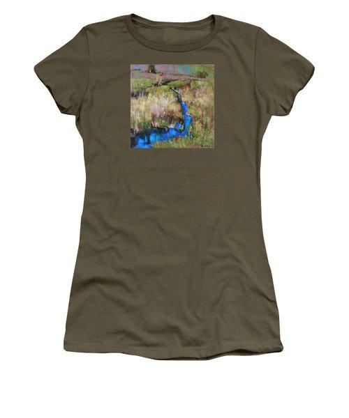 Women's T-Shirt (Junior Cut) featuring the painting Barefoot In The Dew  by Anastasija Kraineva