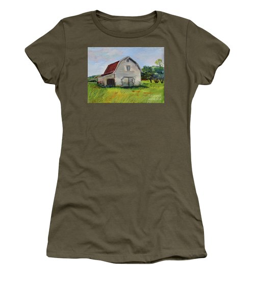 Women's T-Shirt (Athletic Fit) featuring the painting Barn-harrison Park, Ellijay-pinson Barn by Jan Dappen