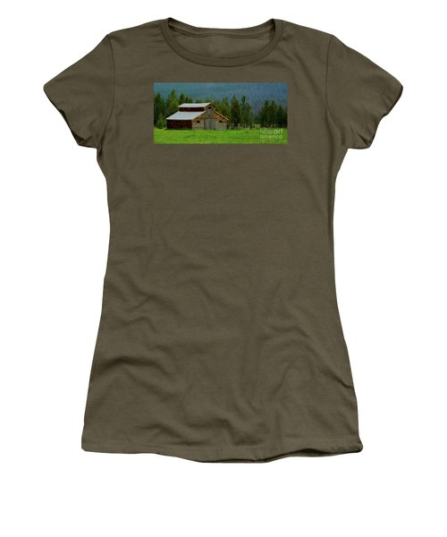 Barn In Rocky Mtn National Park Women's T-Shirt (Athletic Fit)