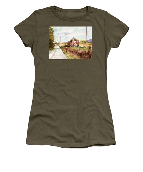 Barns And Electric Poles, Sunday Drive Women's T-Shirt (Junior Cut) by Judith Levins