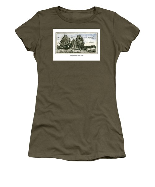 Women's T-Shirt (Athletic Fit) featuring the mixed media Barnstable Yacht Club Greeting Card by Charles Harden