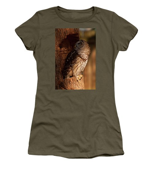 Women's T-Shirt (Junior Cut) featuring the digital art Barred Owl Sleeping In A Tree by Chris Flees