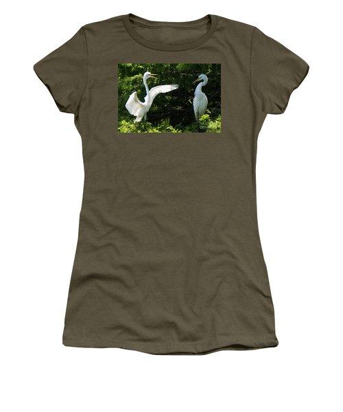 Battle Of The Egrets Women's T-Shirt