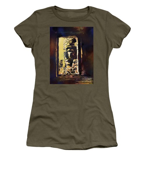 Women's T-Shirt (Junior Cut) featuring the painting Bayon IIi- Cambodian Ruins, Angkor Wat by Ryan Fox