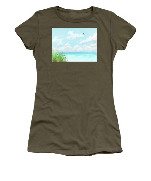 Women's T-Shirt (Athletic Fit) featuring the digital art Beach And Palms by Darren Cannell