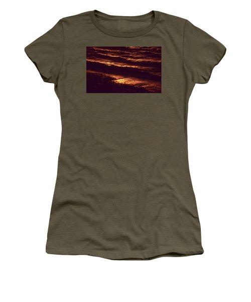 Women's T-Shirt (Junior Cut) featuring the photograph Beach Fire by Laurie Stewart