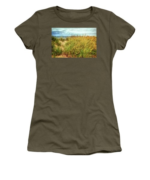 Women's T-Shirt (Athletic Fit) featuring the digital art Beach Grass Path - Painterly by Michelle Calkins