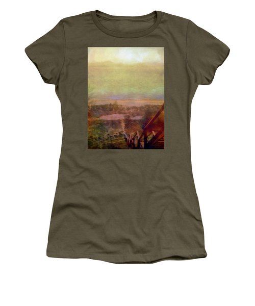 Women's T-Shirt (Athletic Fit) featuring the digital art Beach Stairs With Hazy Sky by Michelle Calkins