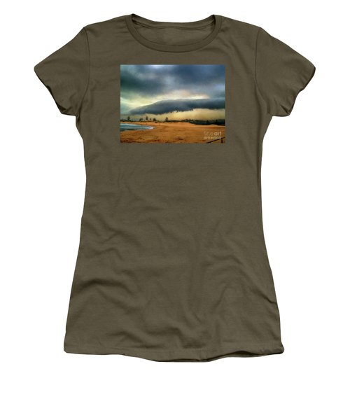 Women's T-Shirt (Athletic Fit) featuring the photograph Beach Storm At Sunset By Kaye Menner by Kaye Menner