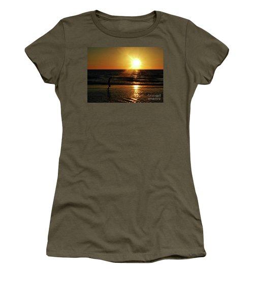 Beach Walking Women's T-Shirt (Junior Cut) by Gary Wonning