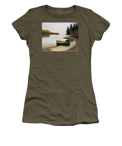 Beached Canoe In Muskoka Women's T-Shirt (Junior Cut) by Kenneth M  Kirsch