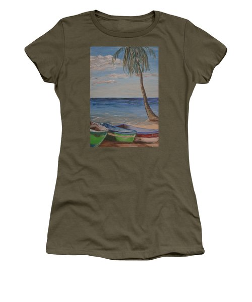 Women's T-Shirt (Junior Cut) featuring the painting Beached by Debbie Baker