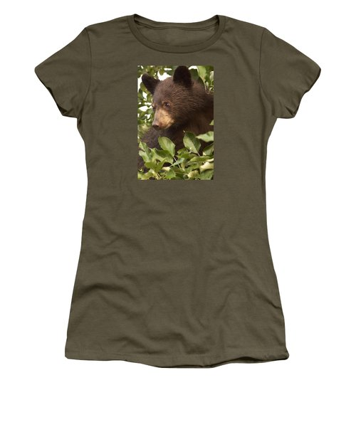 Bear Cub In Apple Tree1 Women's T-Shirt (Junior Cut) by Loni Collins