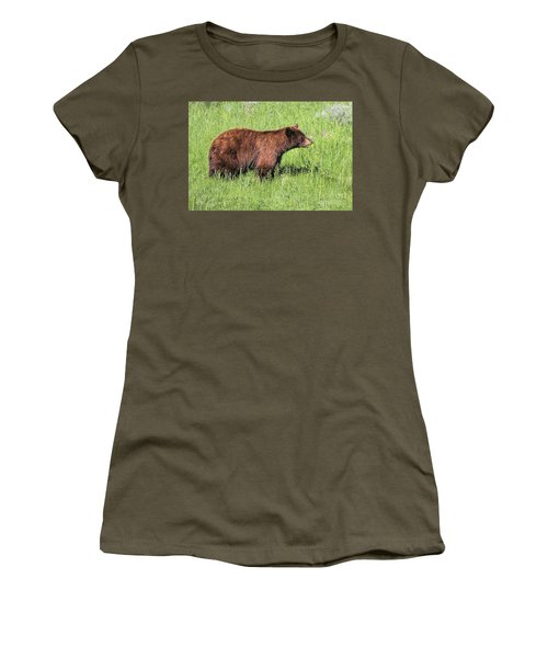 Bear Eating Daisies Women's T-Shirt