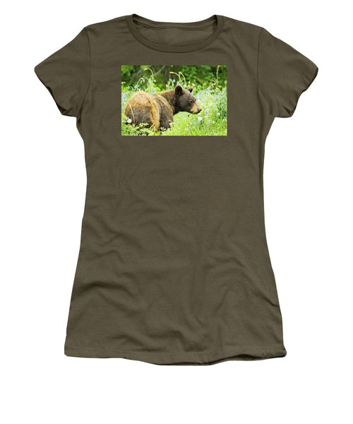 Bear In Flowers Women's T-Shirt (Athletic Fit)