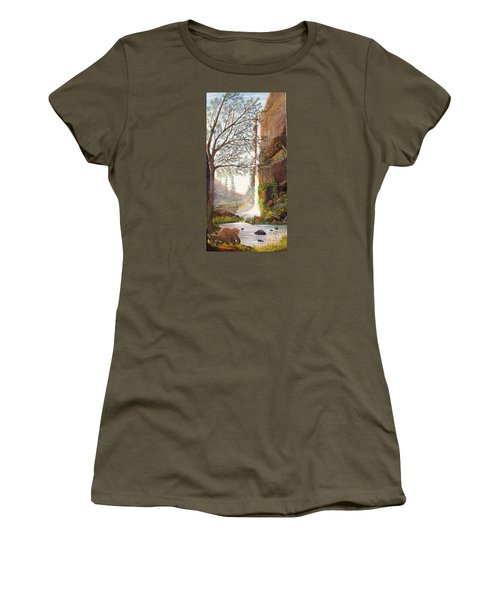 Women's T-Shirt (Junior Cut) featuring the painting Bears At Waterfall by Myrna Walsh
