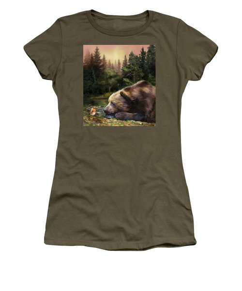 Women's T-Shirt featuring the mixed media Bear's Eye View by Carol Cavalaris