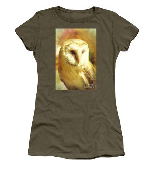 Beautiful Barn Owl Women's T-Shirt (Junior Cut) by Tina LeCour