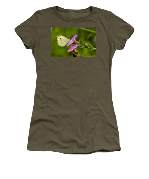 Beautiful Butterfly On Pink Thistle Women's T-Shirt (Athletic Fit)