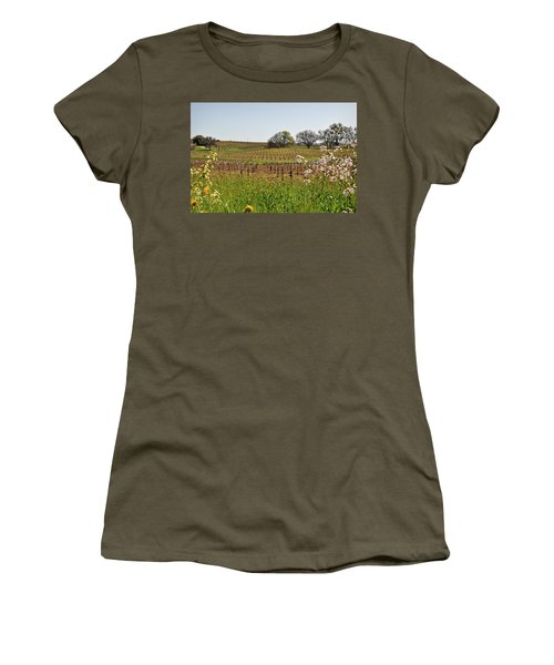 Beautiful California Vineyard Framed With Flowers Women's T-Shirt