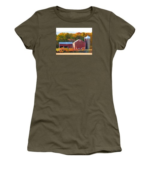 Women's T-Shirt (Junior Cut) featuring the painting Beautiful Red Barn 2 by Lanjee Chee