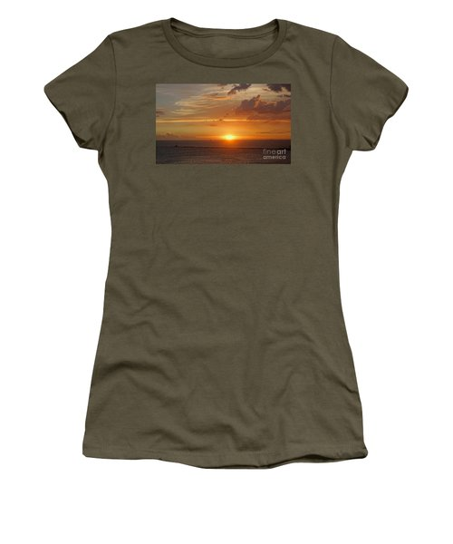 Women's T-Shirt (Junior Cut) featuring the photograph Beautiful Sunset At Kaohsiung Harbor by Yali Shi