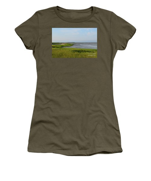 Beautiful Views Of Powder Point Bridge And Duxbury Bay Women's T-Shirt (Athletic Fit)