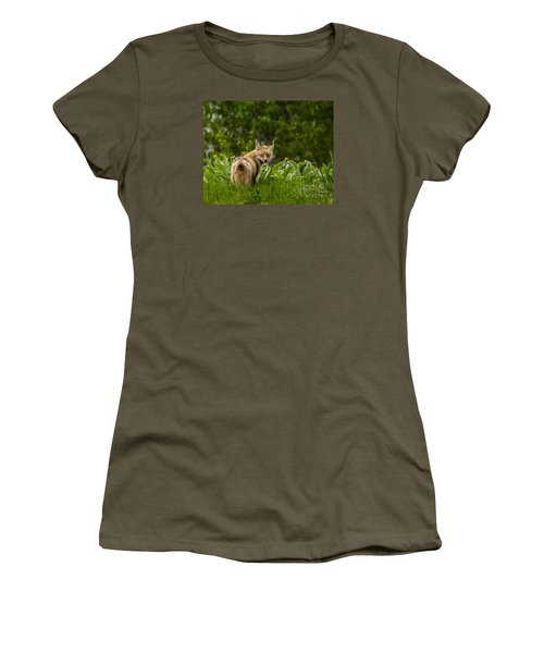 Women's T-Shirt (Junior Cut) featuring the photograph Beaver Creek Mama Fox In Spring by Yeates Photography