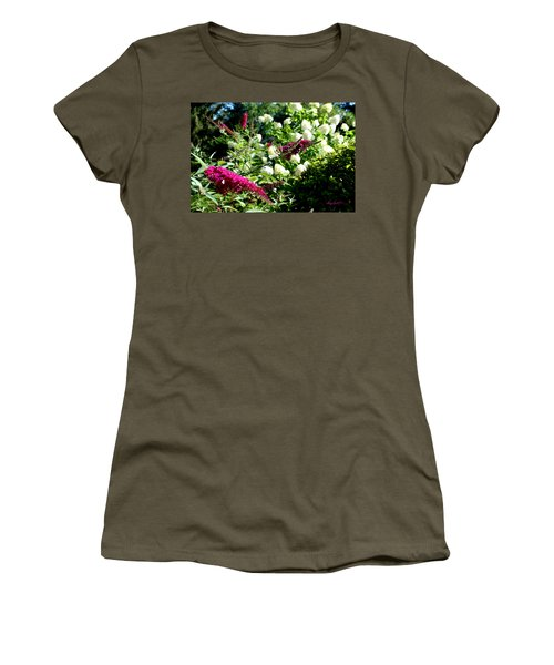 Women's T-Shirt (Athletic Fit) featuring the photograph Beckoning Butterfly Bush by Hanne Lore Koehler