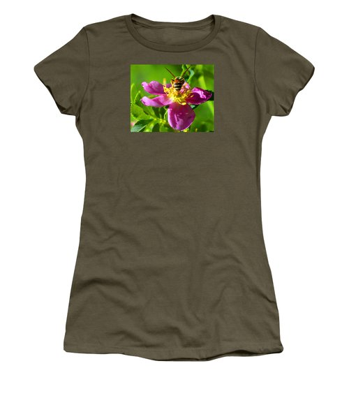 Bee Here Now Women's T-Shirt (Junior Cut) by Susanne Still