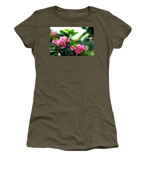 Women's T-Shirt (Junior Cut) featuring the photograph Bee In Flight by Micah May
