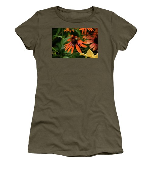 Bee Pollinating On A Cone Flower Women's T-Shirt (Athletic Fit)