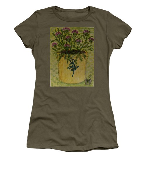 Bee Sting Crock With Good Luck Horseshoe Women's T-Shirt (Junior Cut) by Kathy Marrs Chandler