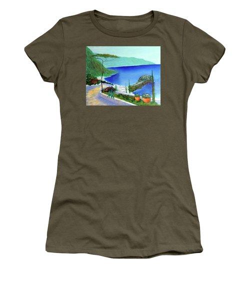 Women's T-Shirt (Junior Cut) featuring the painting Bella Monaco  by Larry Cirigliano