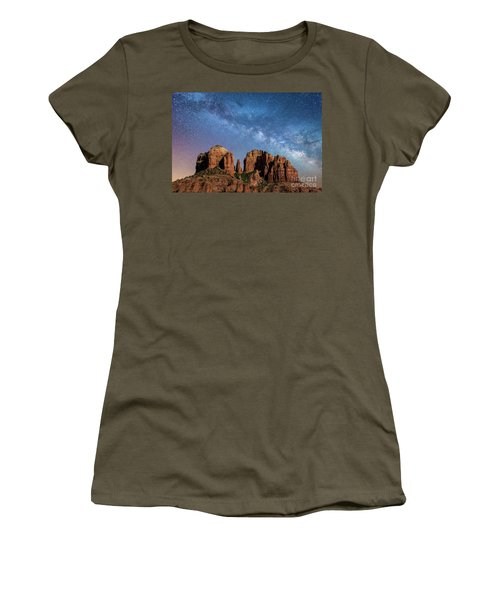 Below The Milky Way At Cathedral Rock Women's T-Shirt (Athletic Fit)