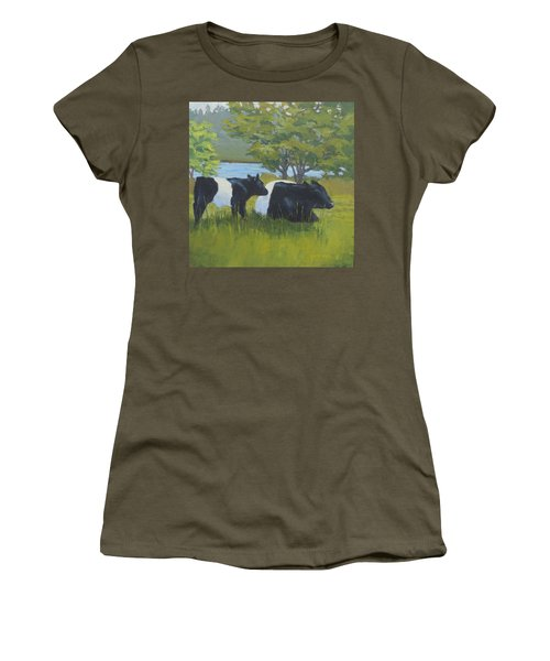 Belted Galloway And Calf Women's T-Shirt (Athletic Fit)