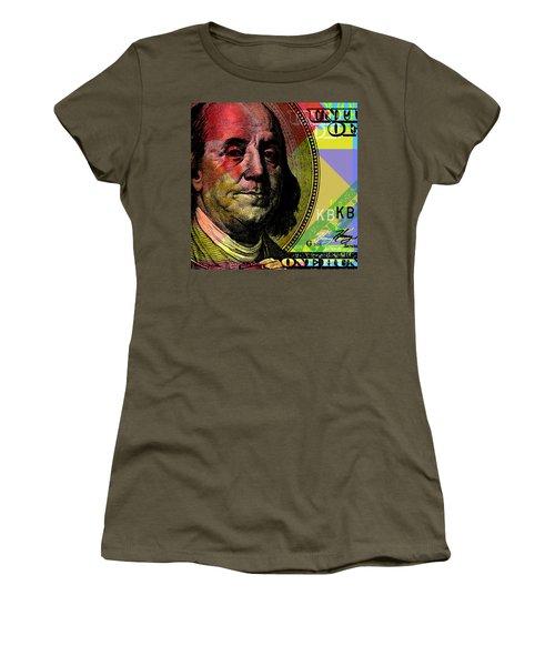 Women's T-Shirt (Junior Cut) featuring the digital art Benjamin Franklin - $100 Bill by Jean luc Comperat