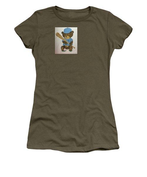 Women's T-Shirt (Junior Cut) featuring the painting Benny Bear Baseball by Tamir Barkan