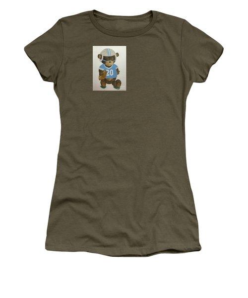 Women's T-Shirt (Junior Cut) featuring the painting Benny Bear Football by Tamir Barkan