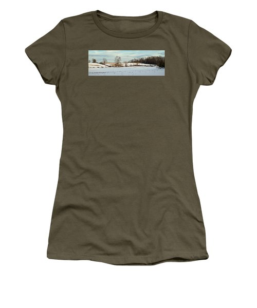Berkshire Meadow - Winter Panoramic Women's T-Shirt (Athletic Fit)