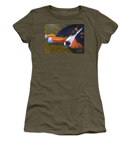 Women's T-Shirt (Junior Cut) featuring the painting Bernese Mtn Dog On The Deck by Donald J Ryker III