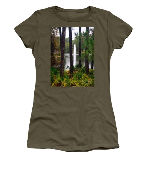 Women's T-Shirt (Junior Cut) featuring the photograph Between The Fountain by Lori Mellen-Pagliaro