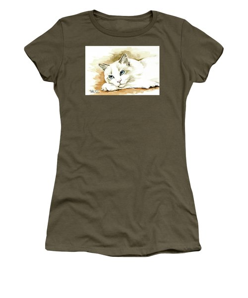 Women's T-Shirt (Athletic Fit) featuring the painting Bicolor Ragdoll Cat Portrait by Dora Hathazi Mendes